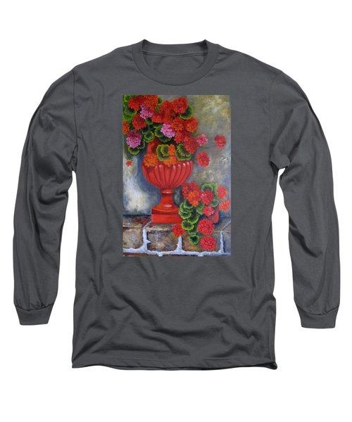 Geranium Long Sleeve T-Shirt by Katia Aho