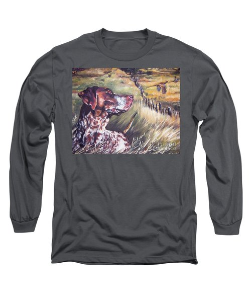 German Shorthaired Pointer And Pheasants Long Sleeve T-Shirt by Lee Ann Shepard