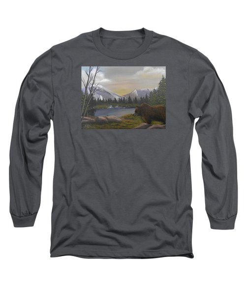 Long Sleeve T-Shirt featuring the painting Ghost Bear-the Cascade Grizzly by Sheri Keith