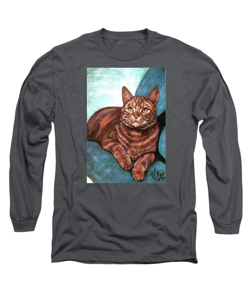 Long Sleeve T-Shirt featuring the painting Ginger Tabby by VLee Watson
