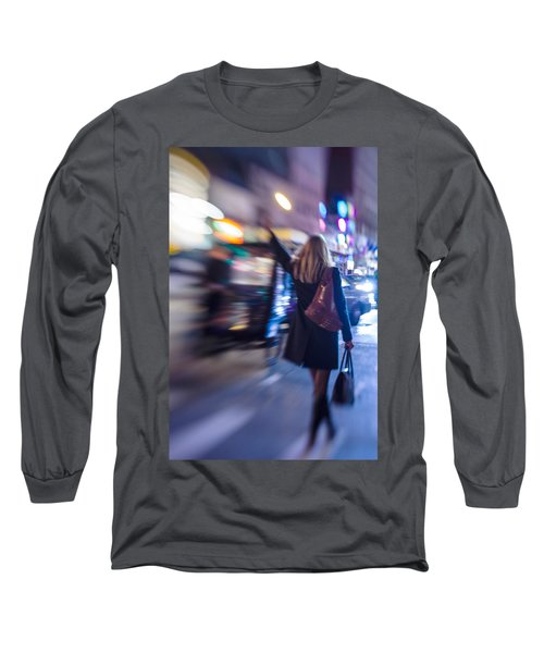 Girl Catching A Taxi In Manhattan Long Sleeve T-Shirt