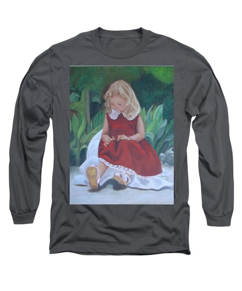 Girl In The Garden Long Sleeve T-Shirt by Sharon Schultz