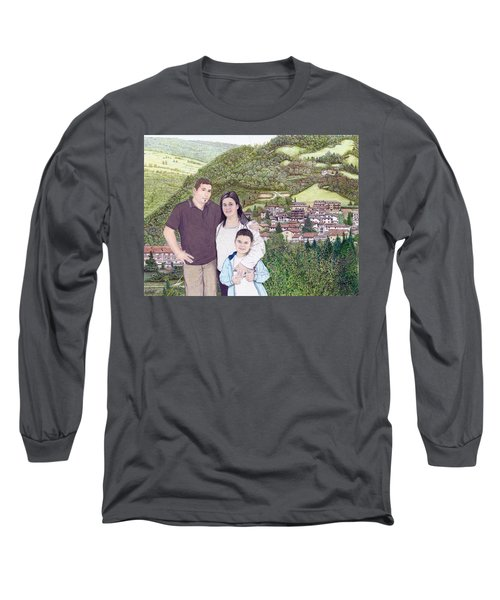 Long Sleeve T-Shirt featuring the painting Giusy Mirko And Simone In Valle Castellana by Albert Puskaric