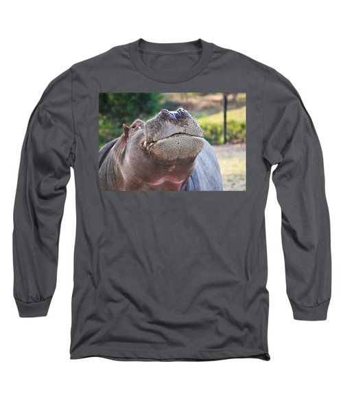 Long Sleeve T-Shirt featuring the photograph Give Me A Kiss Hippo by Eti Reid