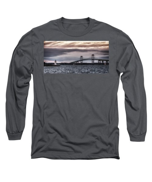 Goat Island Lighthouse And Newport Bridge Long Sleeve T-Shirt