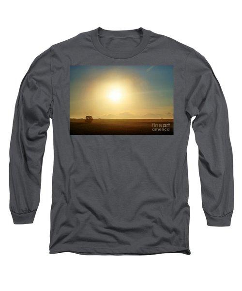 Long Sleeve T-Shirt featuring the photograph Golden Sunset by Judy Palkimas