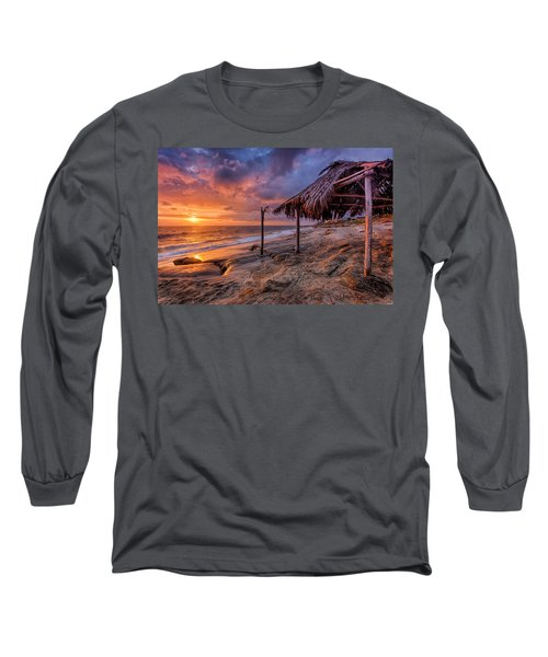 Golden Sunset The Surf Shack Long Sleeve T-Shirt by Peter Tellone