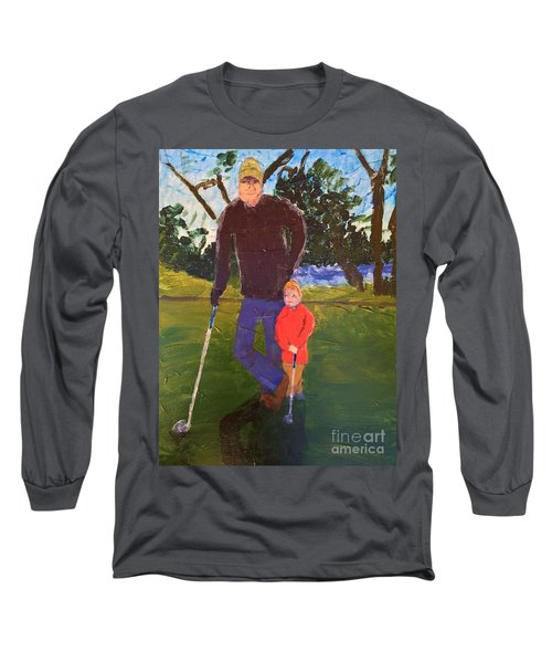 Long Sleeve T-Shirt featuring the painting Golfing by Donald J Ryker III