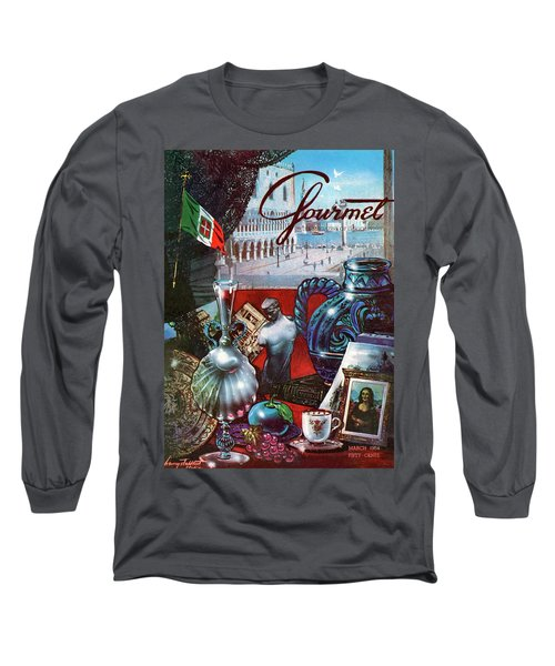 Gourmet Cover Featuring A Variety Of Italian Long Sleeve T-Shirt
