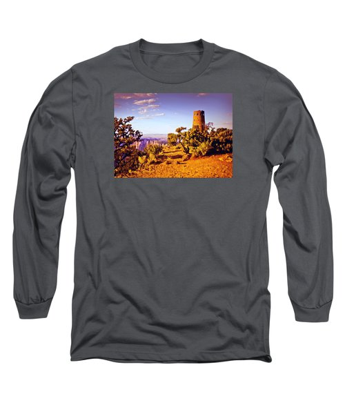 Long Sleeve T-Shirt featuring the painting Grand Canyon National Park Golden Hour Watchtower by Bob and Nadine Johnston