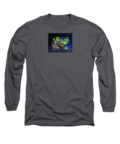 Grapes In A Footed Bowl Long Sleeve T-Shirt by Jane Bucci