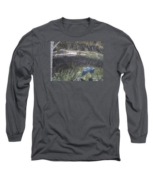 Great Blue Heron In Flight Long Sleeve T-Shirt by Ian Donley