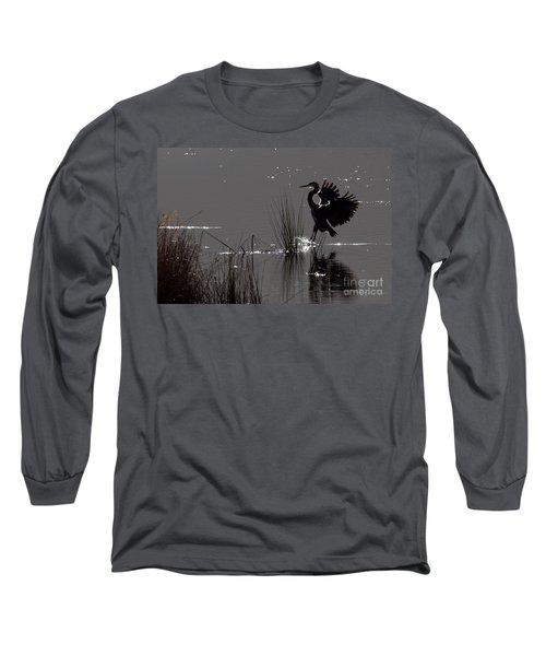 Great Blue Heron Silhouette Long Sleeve T-Shirt
