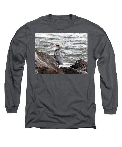 Long Sleeve T-Shirt featuring the photograph Great Blue Heron by Trina  Ansel