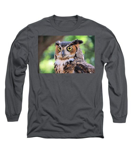 Long Sleeve T-Shirt featuring the photograph Great Horned Owl by Rosalie Scanlon