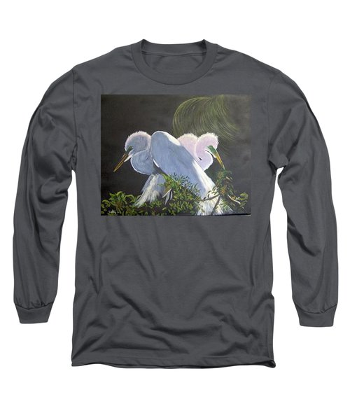 Great White Egrets Long Sleeve T-Shirt by Catherine Swerediuk
