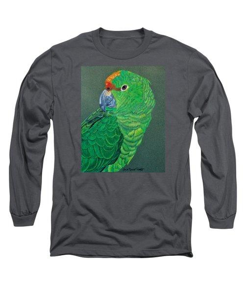Green Conure Long Sleeve T-Shirt by Anita Putman
