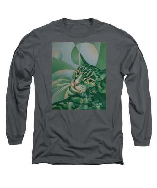 Long Sleeve T-Shirt featuring the painting Green Feline Geometry by Pamela Clements