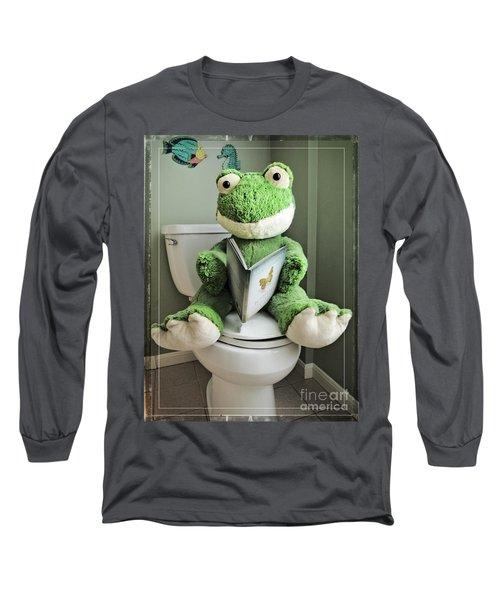 Green Frog Potty Training - Photo Art Long Sleeve T-Shirt
