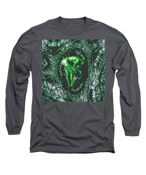 Long Sleeve T-Shirt featuring the painting Gaia Earthly Goddess Nymph Farie Mother Earth Fine Art Print by David Mckinney