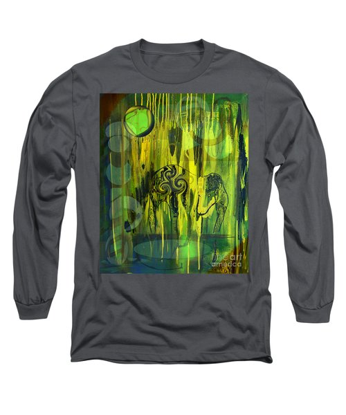 Long Sleeve T-Shirt featuring the painting Green Light by Yul Olaivar