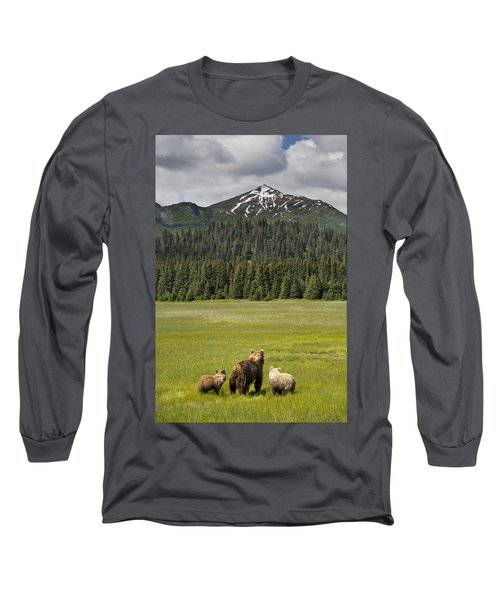 Grizzly Bear Mother And Cubs In Meadow Long Sleeve T-Shirt