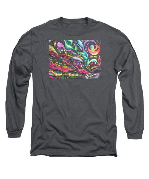 Long Sleeve T-Shirt featuring the painting Groovy Series Titled Thoughts by Chrisann Ellis
