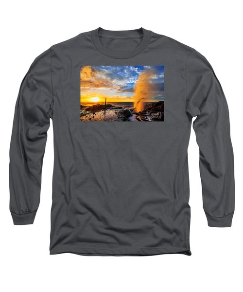 Long Sleeve T-Shirt featuring the photograph Halona Blowhole At Sunrise by Aloha Art