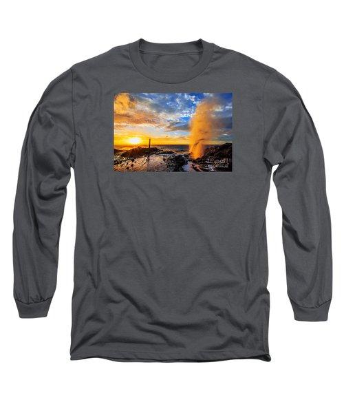 Halona Blowhole At Sunrise Long Sleeve T-Shirt
