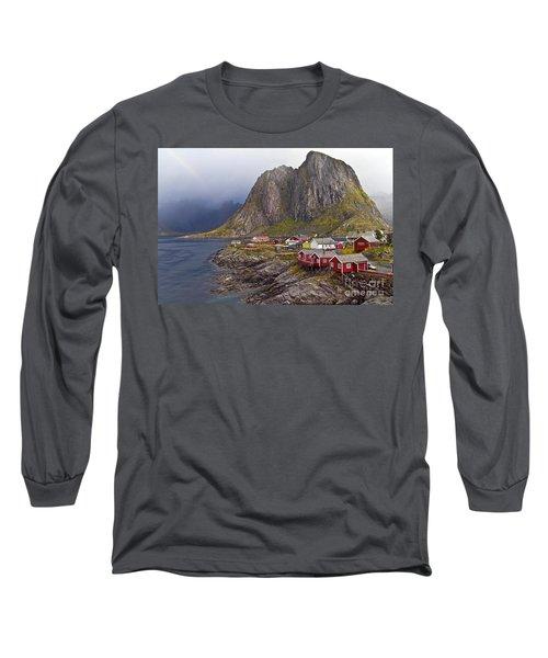 Hamnoy Rorbu Village Long Sleeve T-Shirt by Heiko Koehrer-Wagner