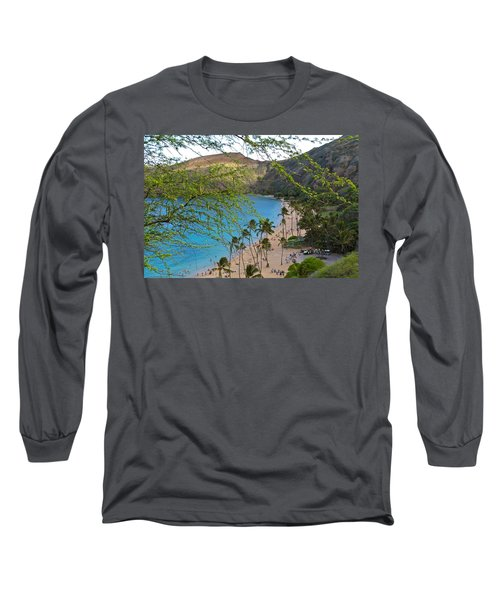 Hanauma Bay Nature Preserve Beach Through Monkeypod Tree Long Sleeve T-Shirt