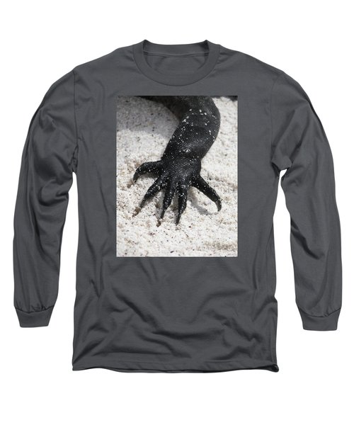 Hand Of A Marine Iguana Long Sleeve T-Shirt by Liz Leyden