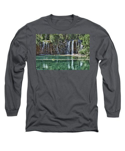 Hanging Lake Long Sleeve T-Shirt by Priscilla Burgers