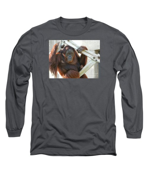 Long Sleeve T-Shirt featuring the photograph Hanging Out - Melati The Orangutan by Emmy Marie Vickers