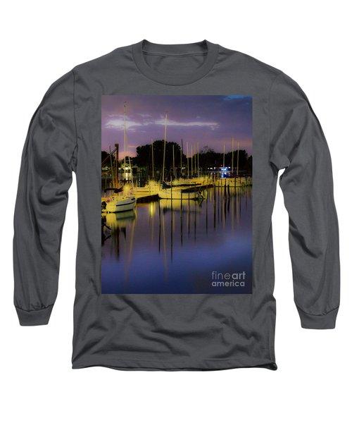 Harbor At Night Long Sleeve T-Shirt