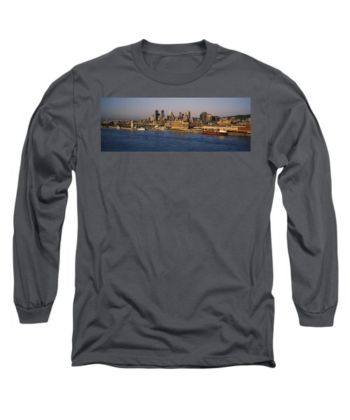 Harbor With The City Skyline, Montreal Long Sleeve T-Shirt