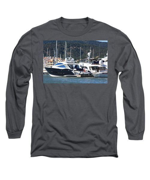 Harbour Docking Scene Long Sleeve T-Shirt by Rogerio Mariani