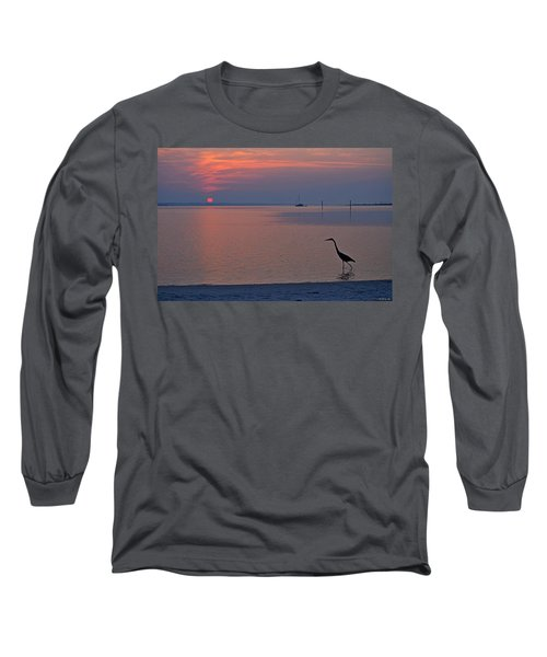 Long Sleeve T-Shirt featuring the photograph Harry The Heron Fishing On Santa Rosa Sound At Sunrise by Jeff at JSJ Photography