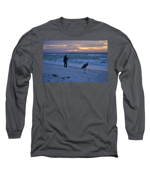 Long Sleeve T-Shirt featuring the photograph Harry The Heron Fishing With Fisherman On Navarre Beach At Sunrise by Jeff at JSJ Photography