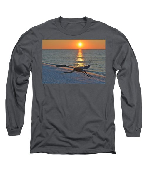 Long Sleeve T-Shirt featuring the photograph Harry The Heron Takes Flight To Reposition His Guard Over Navarre Beach At Sunrise by Jeff at JSJ Photography