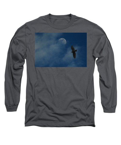 Hawk And Moon Coming Out Of The Mist Long Sleeve T-Shirt by Raymond Salani III