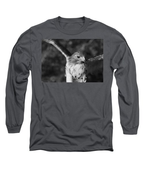 Hawk Attack Black And White Long Sleeve T-Shirt