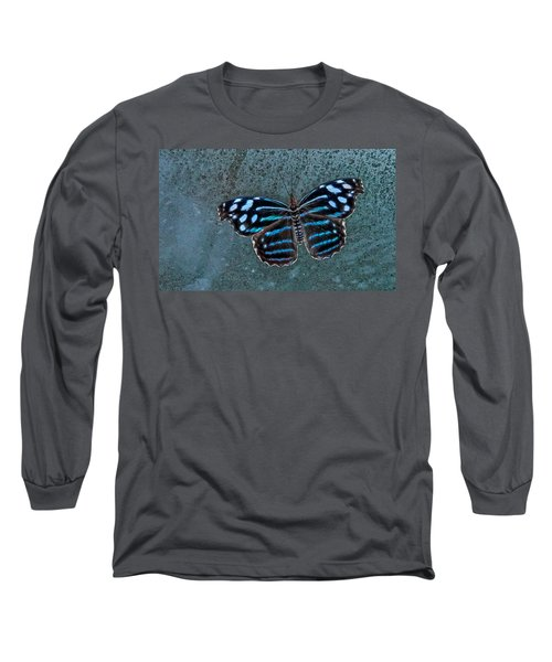 Hdr Butterfly Long Sleeve T-Shirt by Elaine Malott