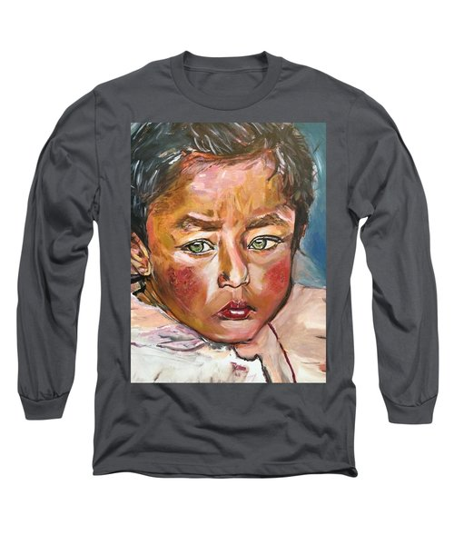 Long Sleeve T-Shirt featuring the painting Heal The World by Belinda Low