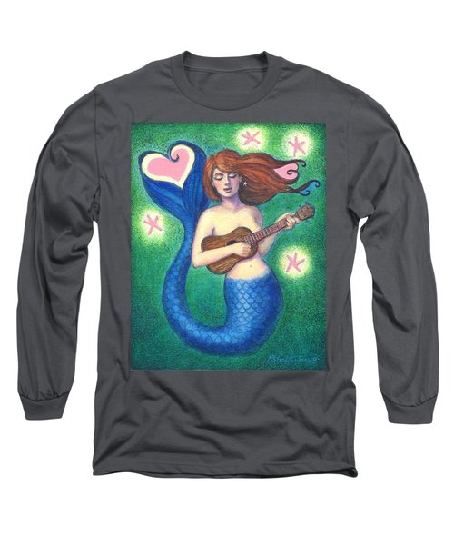 Long Sleeve T-Shirt featuring the painting Heart Tail Mermaid by Sue Halstenberg