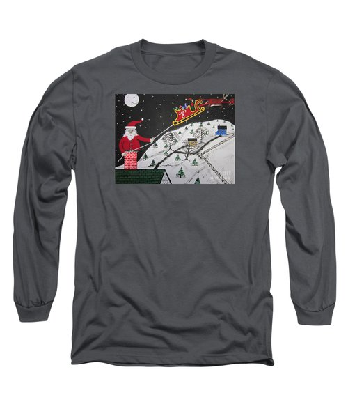 Long Sleeve T-Shirt featuring the painting Help Santa's Stuck by Jeffrey Koss