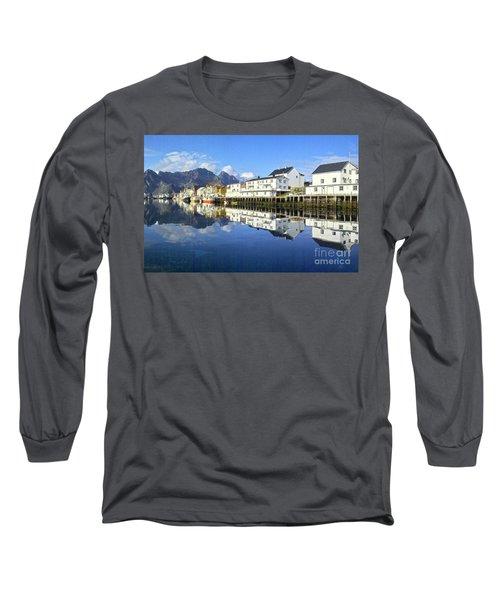 Henningsvaer Harbour Long Sleeve T-Shirt by Heiko Koehrer-Wagner