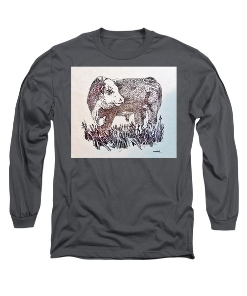 Polled Hereford Bull  Long Sleeve T-Shirt by Larry Campbell