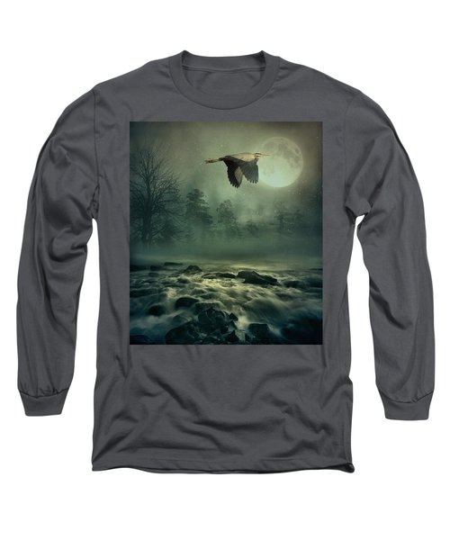 Heron By Moonlight Long Sleeve T-Shirt by Andrea Kollo
