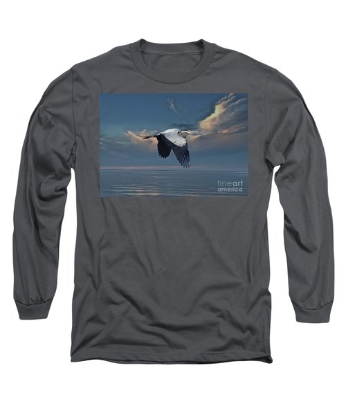 Heron Night Flight  Long Sleeve T-Shirt by Andrea Kollo